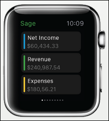 Sage Live iWatch Dashboard
