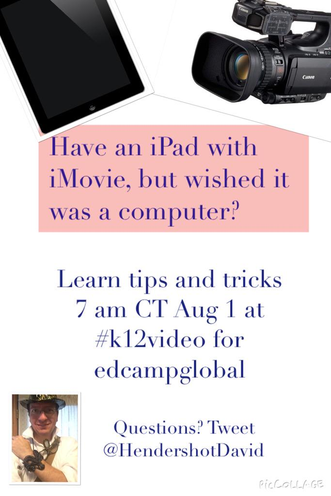 Excited to host the #k12video chat over iMovie this Saturday! Hoping to see a good crowd of Ts. #ksedchat #edchat http://t.co/HOy2GnKLAE