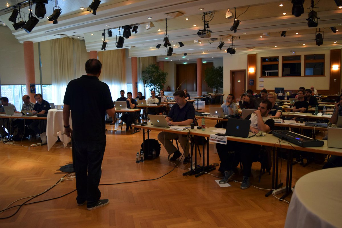 The Orchestration class is the biggest of this year´s workshop. And Conrad Pope really enjoys teaching it. #HMW15 http://t.co/DqZ1ISKv7U