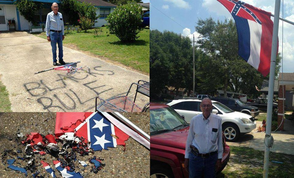 Vandals ripped down this disabled vet's MS State flag and left the remains in his driveway. >>http://t.co/qjg7op06pD