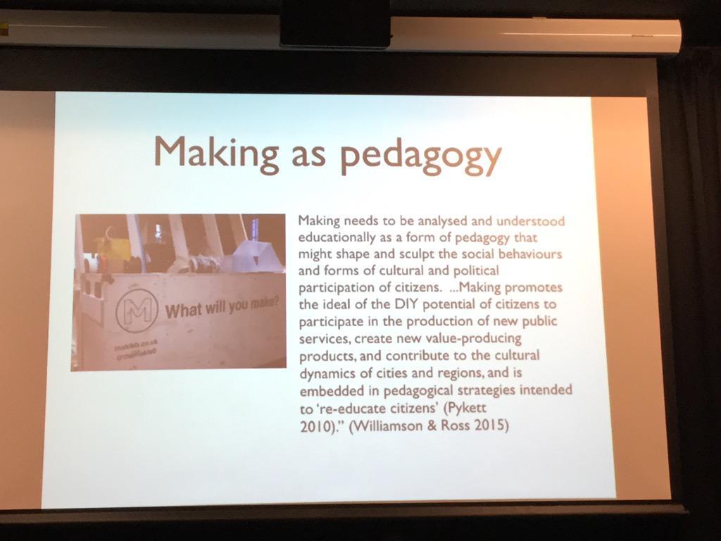 Making as pedagogy #mobilemakers @jar http://t.co/pnPuf8lbyZ