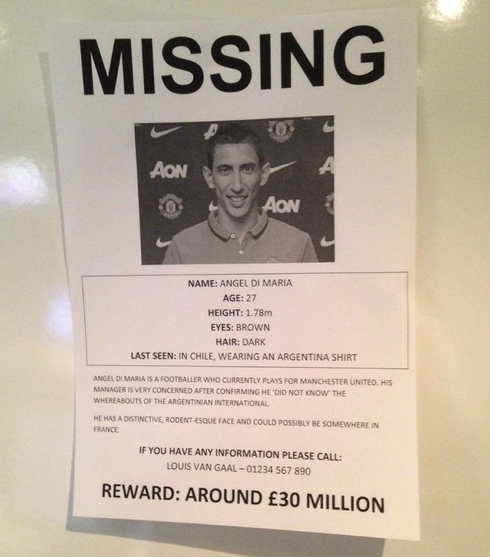SPOTTED: These posters have been found around Manchester today after LVG revealed he doesn't know where Di Maria is. http://t.co/KRyMDdHf9I