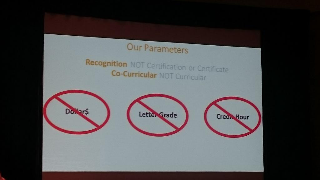 Parameters for using badges. They are recognition and not certification #AAEEBL2015 #campustech http://t.co/eFSMP1R8M6