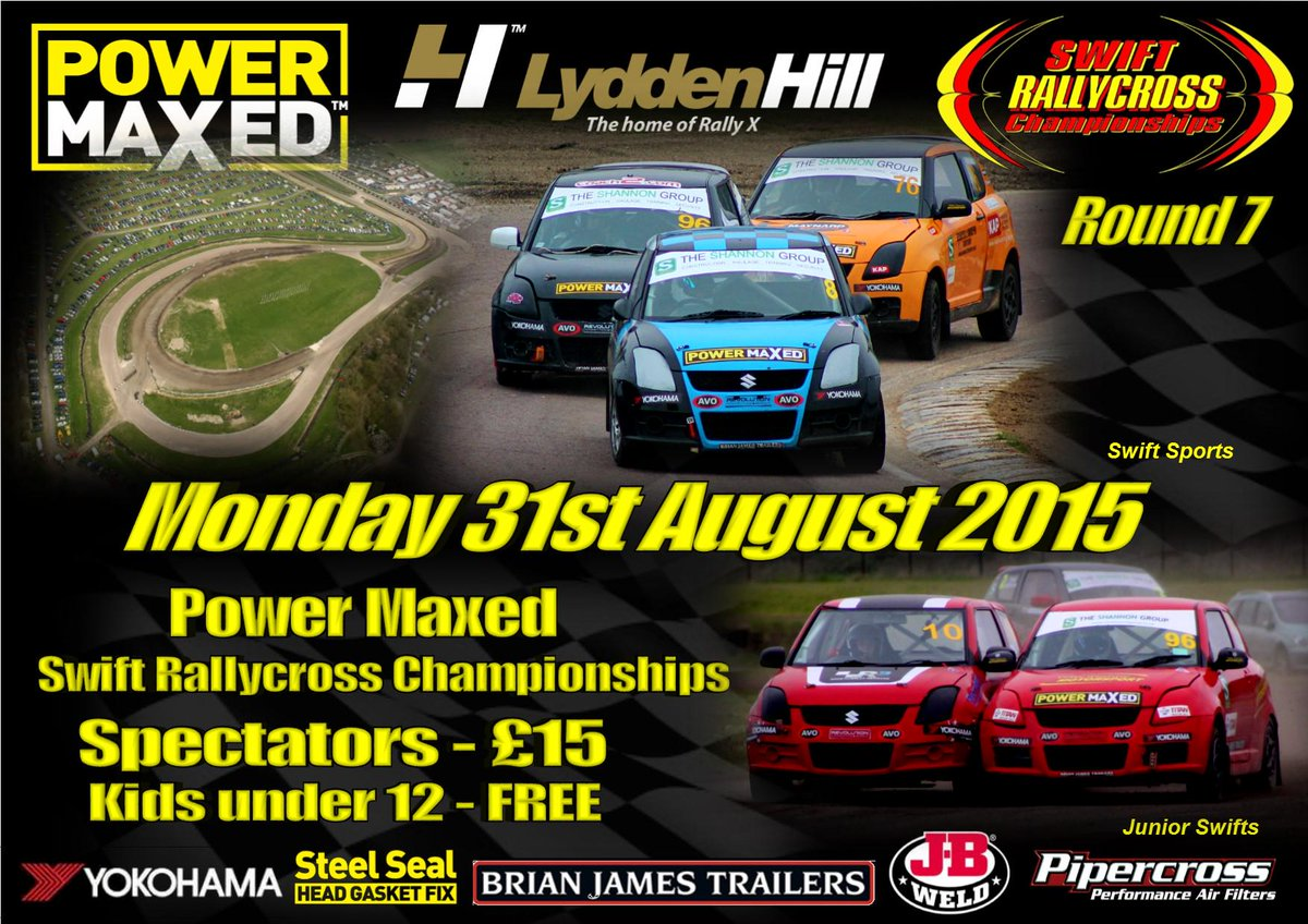 Who's joining us @LyddenHill Mon 31st August for Rnd 7 @PowerMaxedUK  @SwiftRallycross @BritishRallyx #Rallycross http://t.co/ukhVU3xJzx
