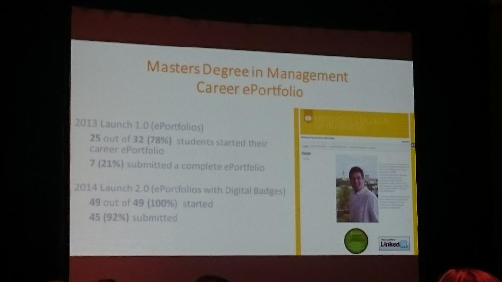 Keynote: Digital badges can motivate students to complete their portfolios. Offers validation #AAEEBL2015 #campustech http://t.co/f2OTKcR1uC