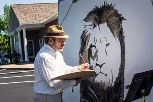 This artist has created a memorial to #CecilTheLion on the wall of #WalterJamesPalmer dental office! http://t.co/qvCQGhjRdm