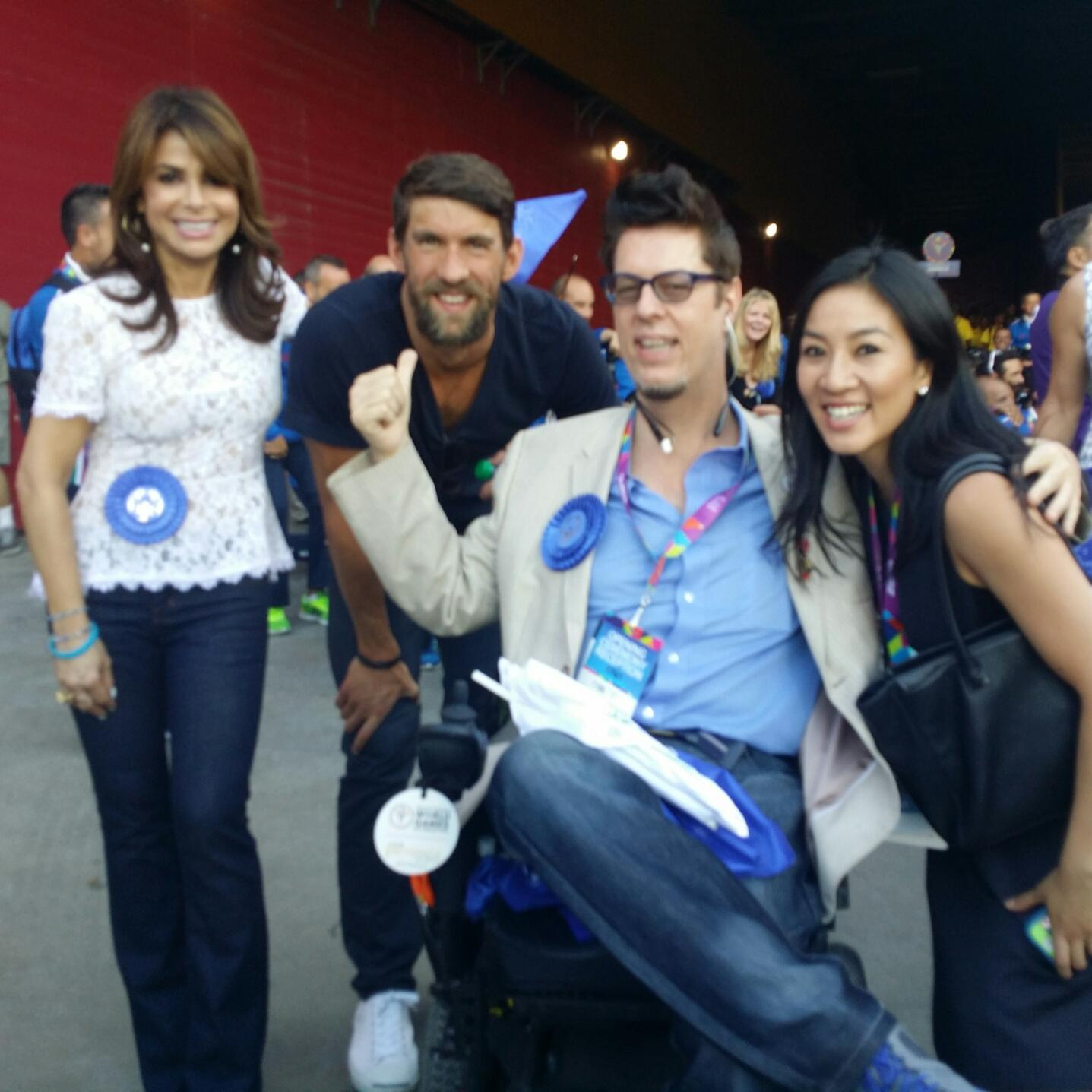 Cool 1 for #ThrowbackThursday > Me, @MichaelPhelps @MichelleWKwan and @musical_wheels at @LA2015 :) xoP #ReachUpLA http://t.co/wqPt9WWdMd