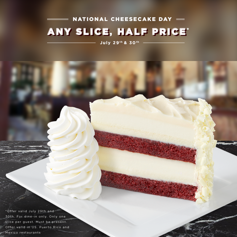 Come celebrate #NationalCheesecakeDay at The @Cheesecake Factory​ in The Forum Shops and enjoy any slice, half price! http://t.co/j1zzcyYBMe