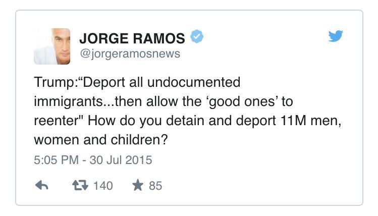 """@ThisIsFusion: Jorge Ramos takes to Twitter to roast Trump on immigration: http://t.co/HFAUi1tfE4 http://t.co/WTGPZLC69c"" @RichardOHornos"