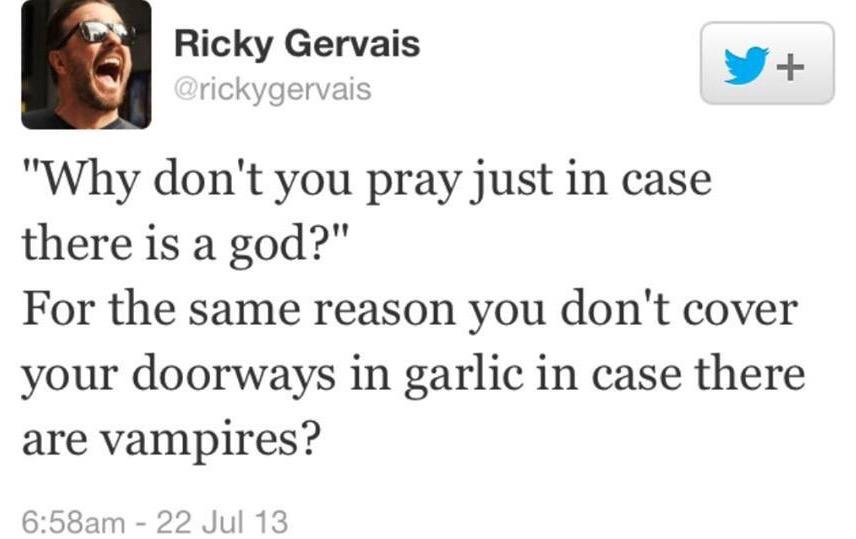 Seriously... got to love @rickygervais! #prayer #god #atheist #atheism #vampire http://t.co/yGdC1JZg4P