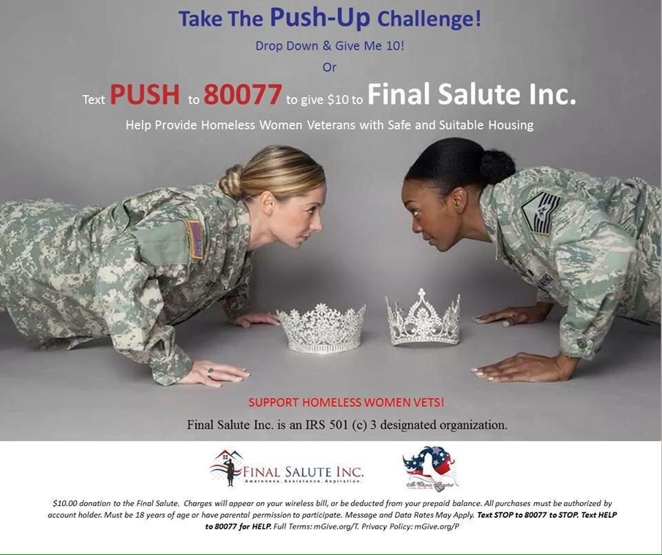 @JasBoothe1 @FinalSaluteInc I'll do push ups AND donate $$ to help homeless female vets & their kids! Who's with me?! http://t.co/lDiaNCu8ZB