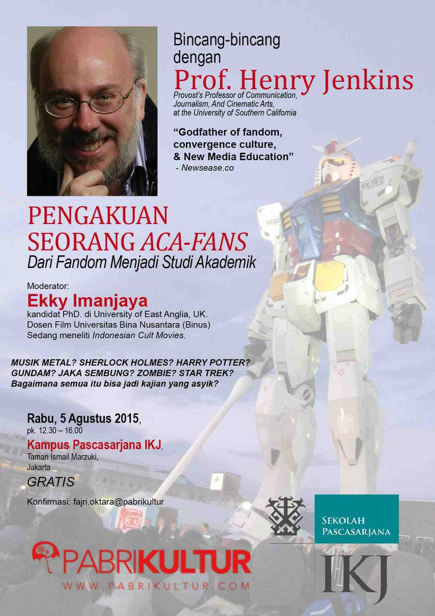 Henry Jenkins is coming to Jakarta. Calling all Aca/Fans! http://t.co/VG3bltw5Ri