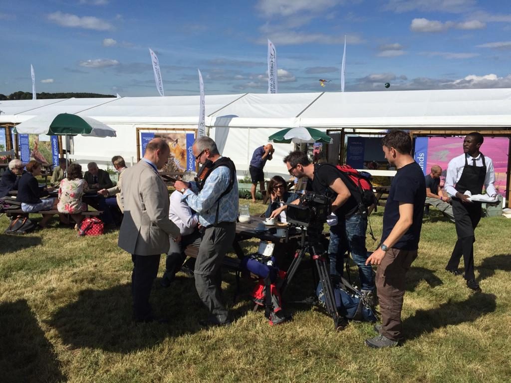 Setting up for an interview with @BBCCountryfile on our stand at @TheGameFair. http://t.co/kVcStEWczf