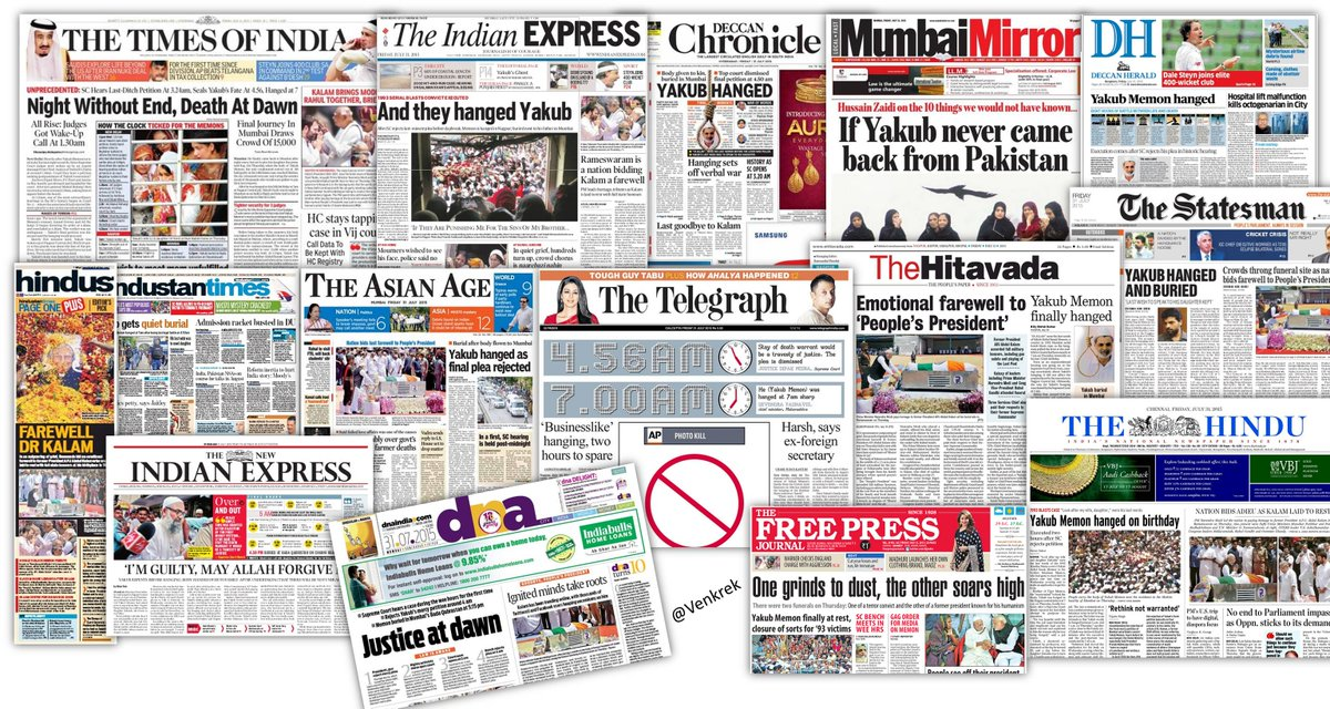 When #YakubMemon hanging was HUGE PRIORITY for most English Newspapers & President #KalamSir funeral was just news! http://t.co/Xei1aJsl79