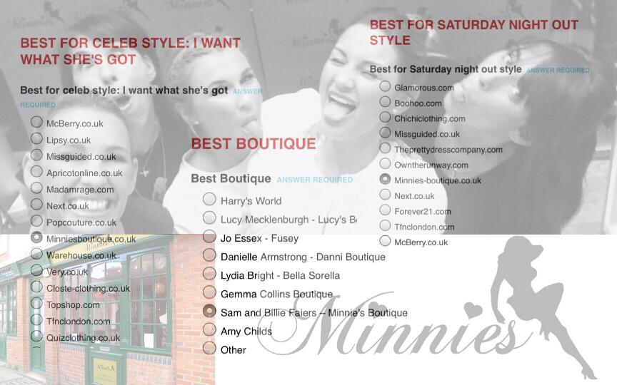 RT @SamFaiersFansxx: keep voting for @MinniesBoutique and @SamanthaFaiers collection ❤️👗👠👯 http://t.co/cFBSTxvDMh http://t.co/UPp7WeSuJ4