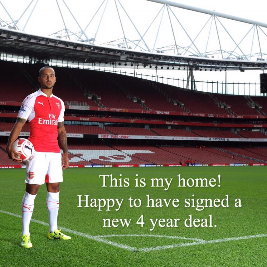 Theo Walcott becomes one of Arsenal's highest paid players with a new four year contract