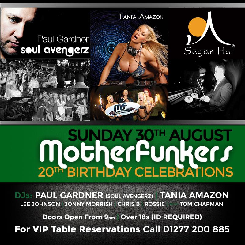 Add this to your diary... August Bank Holiday Weekend @MotherFunkers are back @sugarhut. For bookings 📞 01277200885 http://t.co/tOInyED6NT