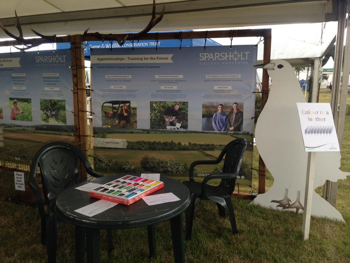 All set up for visitors at @TheGameFair - we're at @Gameandwildlife stand 44 showcasing our collaborative research. http://t.co/8fK71lrpYM