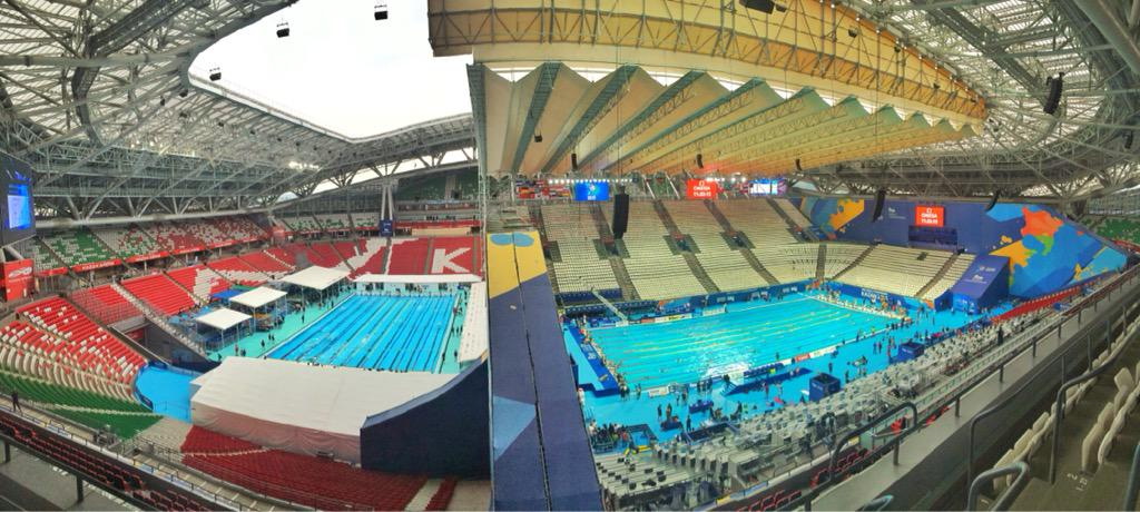 This is one photo! Two 50m pools inside a football stadium! Warm up & Competition #Kazan2015