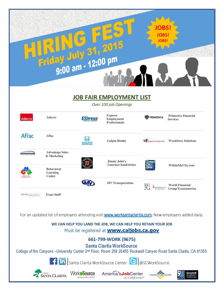 Hiring Fest today with over 100 job openings from 9am to Noon in Santa Clarita! If you need a job, be there! #careers