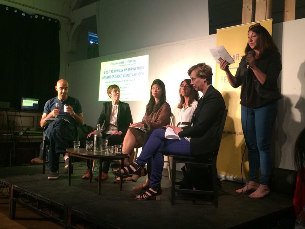 Excited to hear panel on how we can improve media coverage of sexual assault & abuse @clearlinesuk #clearlinesfest http://t.co/ooeqv9eVc8