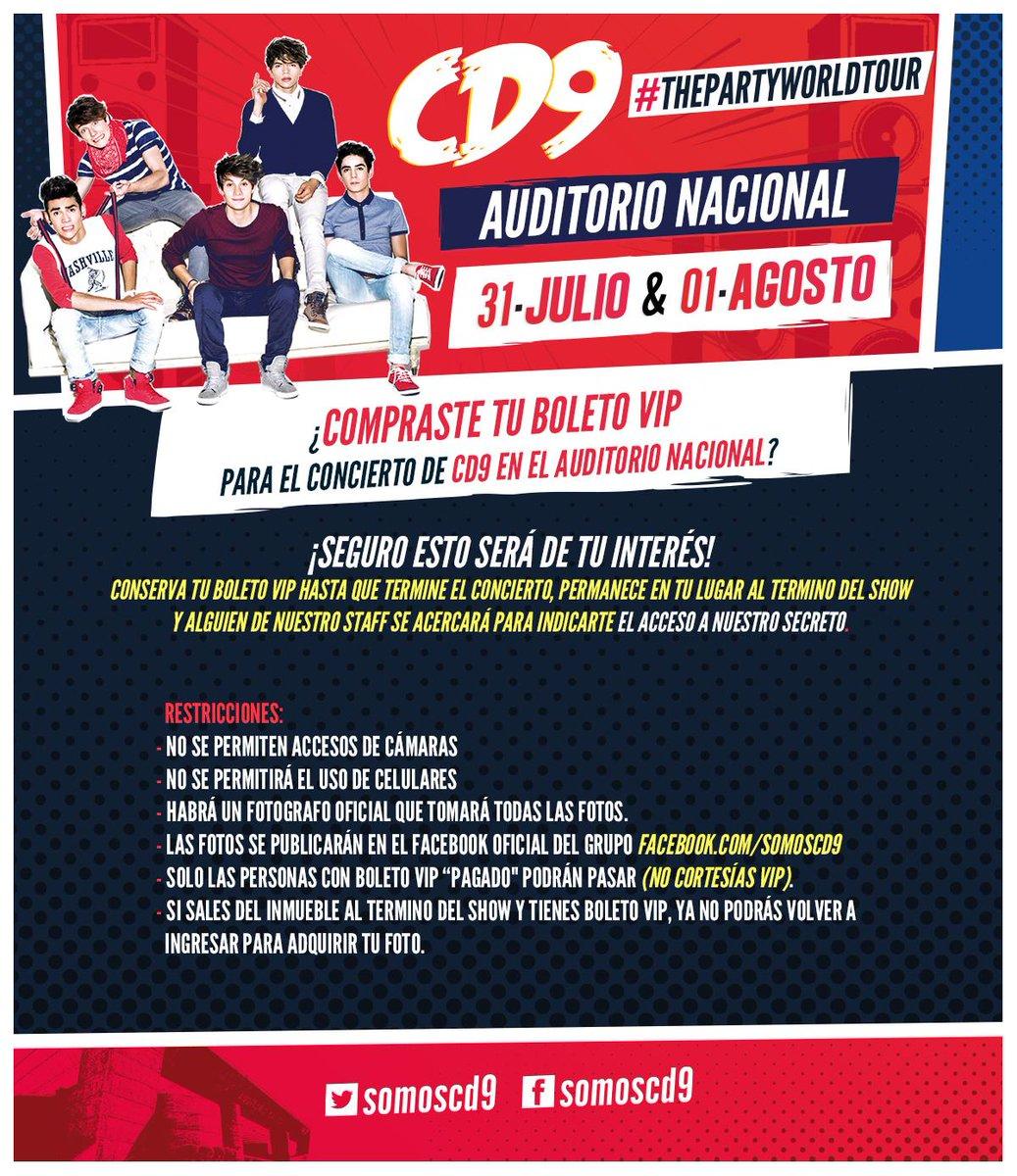 Si tienes boleto VIP para #ThePartyWorldTour de @SomosCD9 en el @AuditorioMx , esta información es para ti. http://t.co/U6jWuASpkj