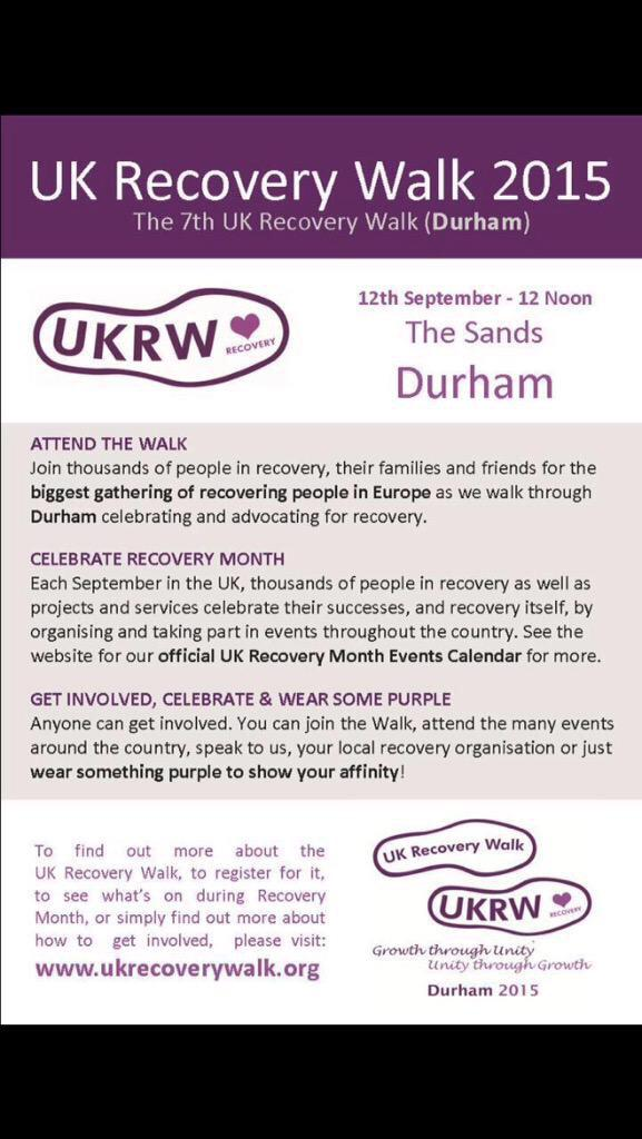 RT @0_c1: @RealDeniseWelch RT? 7th UK Recovery Walk is in the North East! http://t.co/H2mJwup5vE
