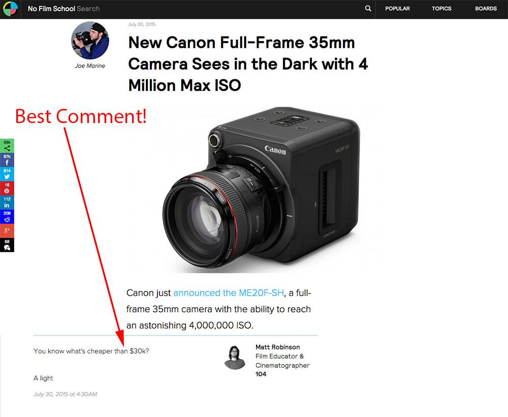 Best comment I've seen regarding new $30,000 Canon ISO 4,000,000 camera http://t.co/1cgBckl1Tz