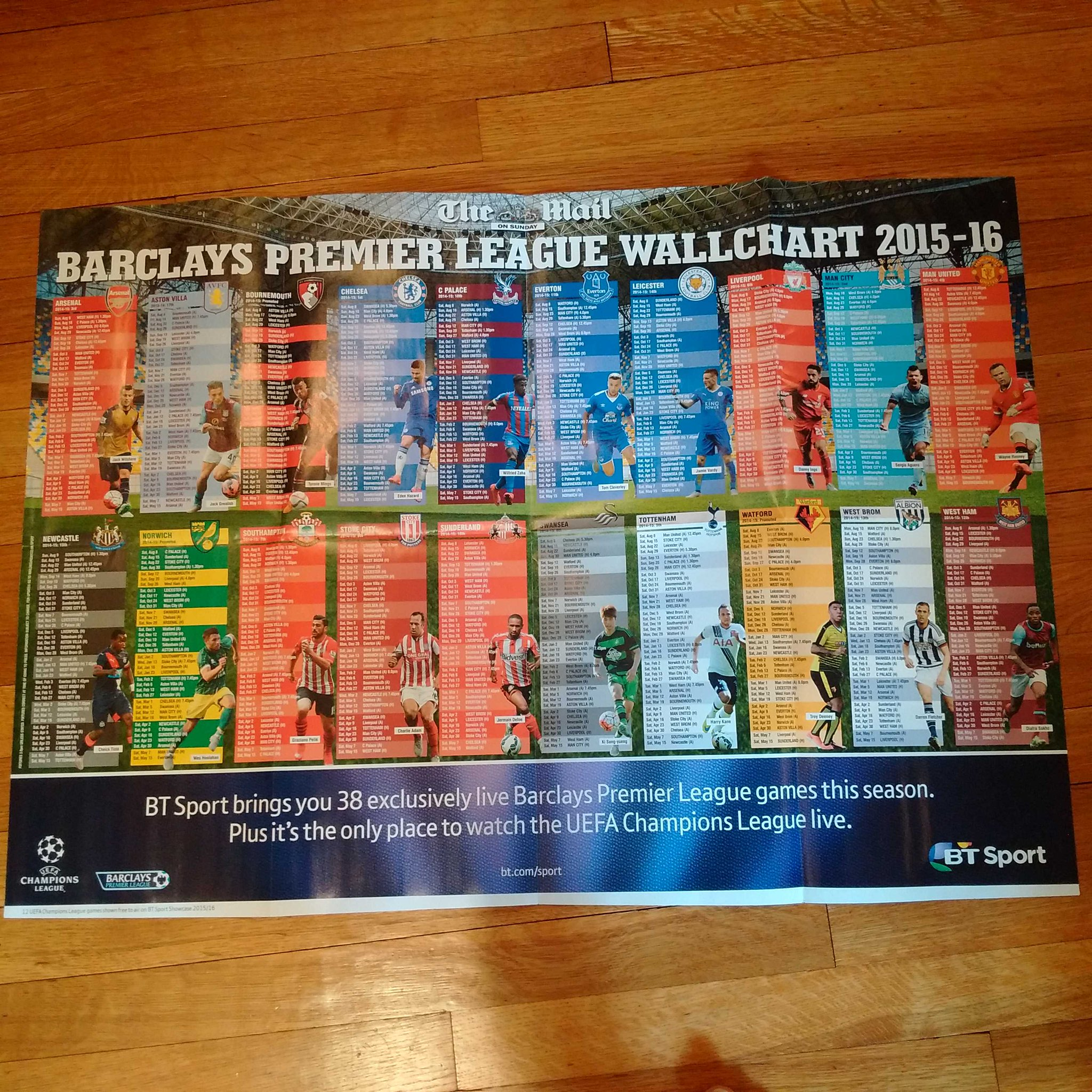 The Mail on Sunday is giving away this fantastic Premier League wallchart with tomorrow's paper. Don't miss it! http://t.co/PUm9Y2K4XP