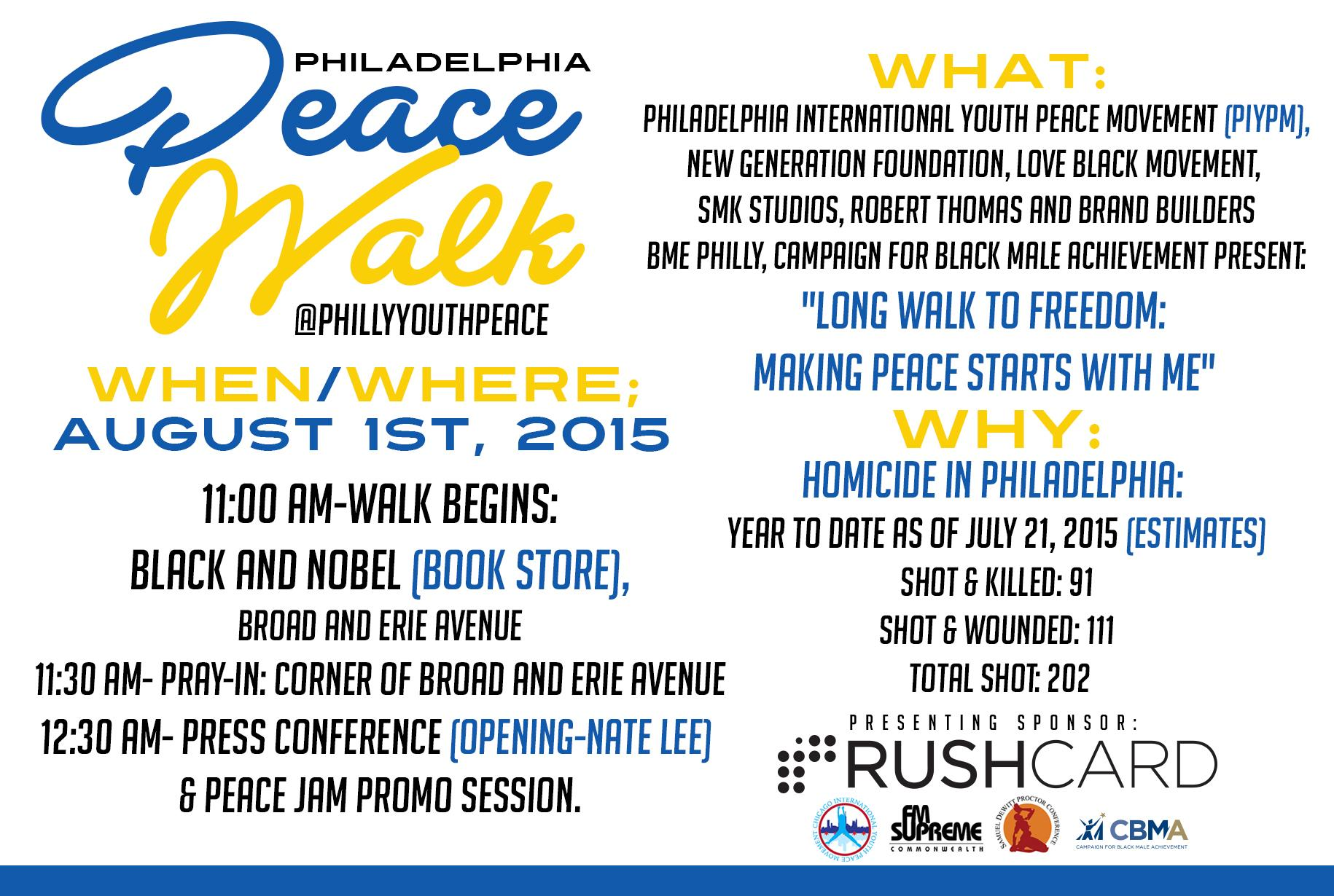 If ur in Philly, please join our peace march today at 11AM — starting from Black and Nobel. #KeepThePeace RT! http://t.co/hRYZ9n5rzS