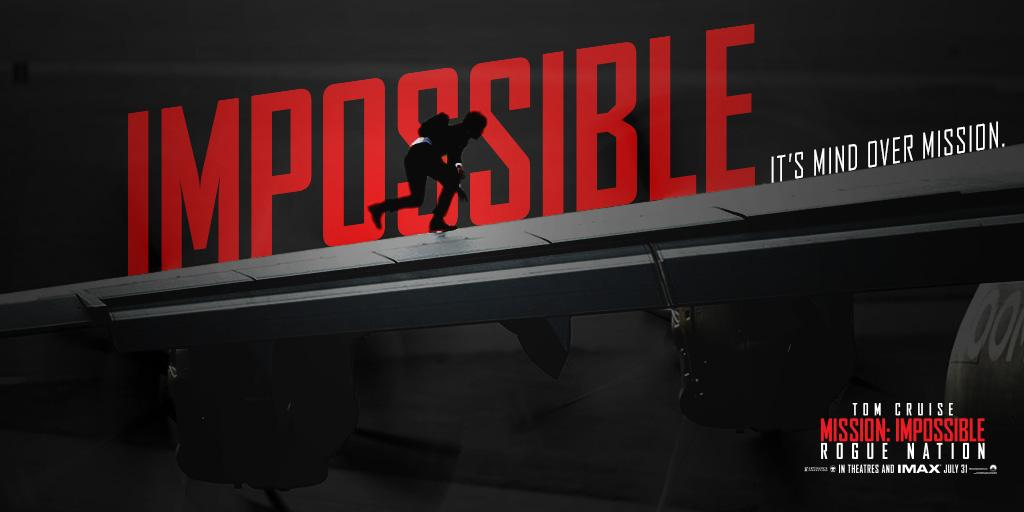 RT @MissionFilm: Don't miss the action everyone is talking about. See Mission: Impossible Rogue Nation in theaters & IMAX now. RT http://t.…