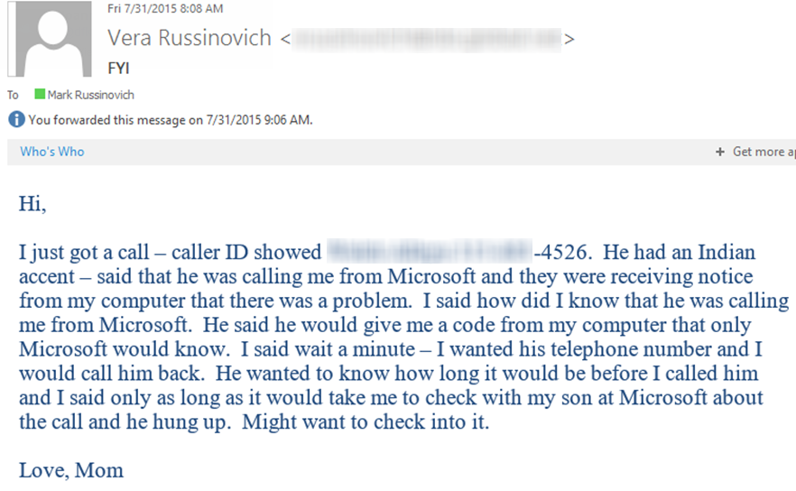 My mom did a great job of scaring  off a Microsoft tech support scammer yesterday: http://t.co/z3wrZUR4B1