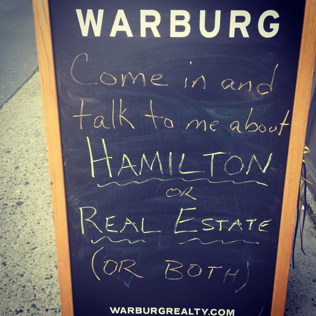 @Lin_Manuel -- This is why I love New York. Even the Real Estate Agents know great musical theater. #HamiltonBway http://t.co/htDubf4pY3
