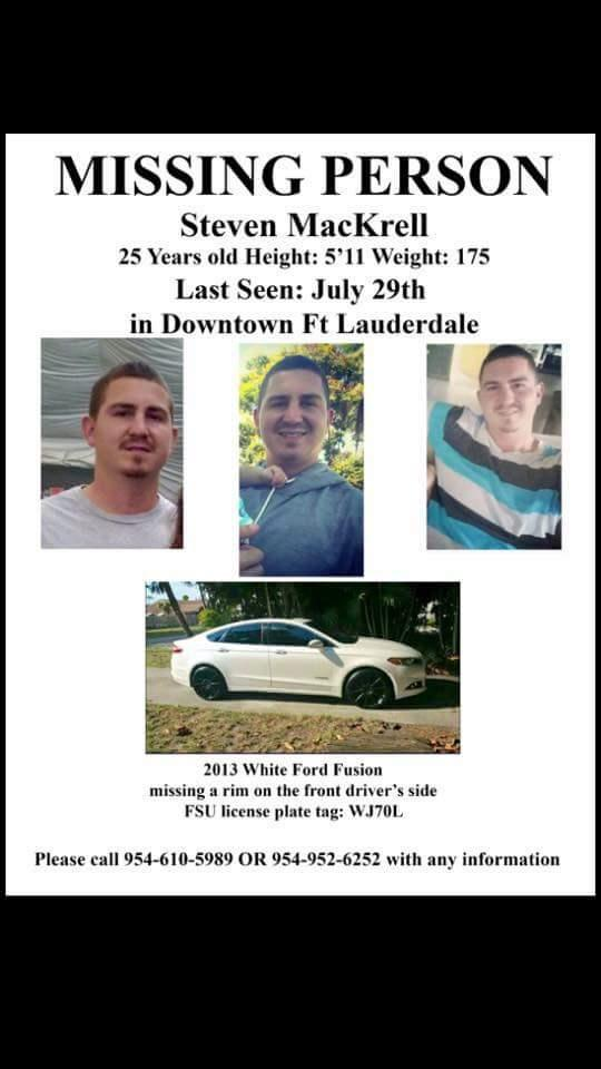 A good friend of my sons is missing. Please re-Tweet this poster if you are connected to the South Florida area. http://t.co/mTtY7MRqiW
