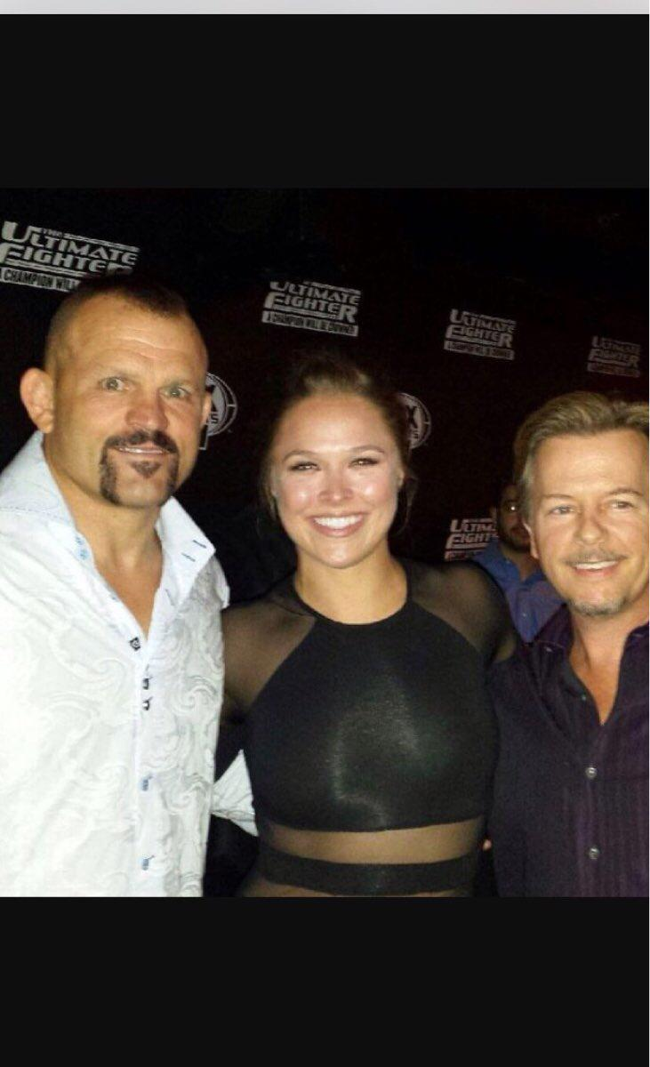 Good luck @rondarousey. Last time i saw you and @chuckliddell i got the shit cropped out of me. Im still sore. http://t.co/eheZfX100Y