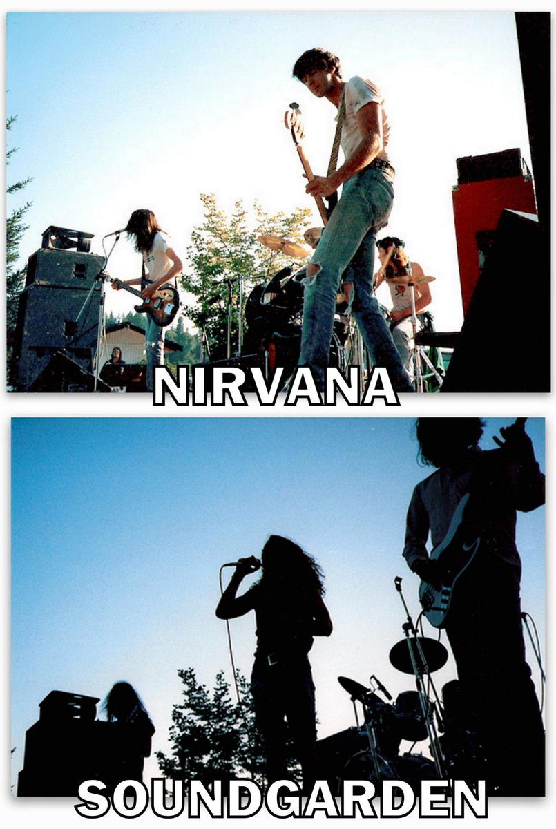 August 1988 – Nirvana and Soundgarden play the Capitol Lake Jam. One of the only times they'd play together. #Grunge http://t.co/LDZYdK2zkD