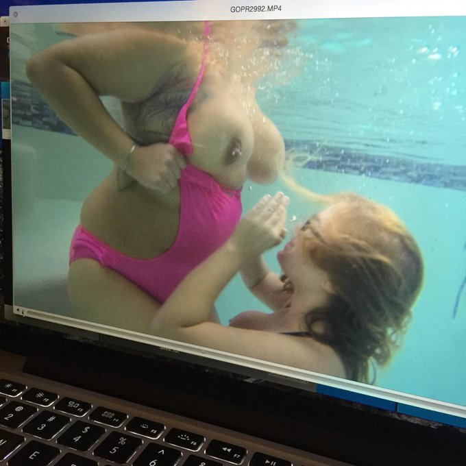 1 pic. Filming a few fun water scenes with @MWeatherz .  ?? #BBW #nakedwaterplay #bigboobs #camgirl #BBWLovers