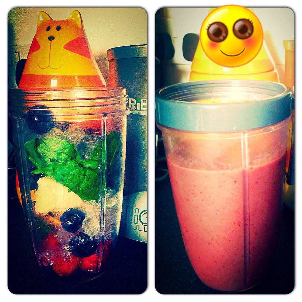 @NutribulletUk - strawberries, cherries, banana, spinach, ice and topped with some coconut water... ❤️ http://t.co/WxoG3W5B7P