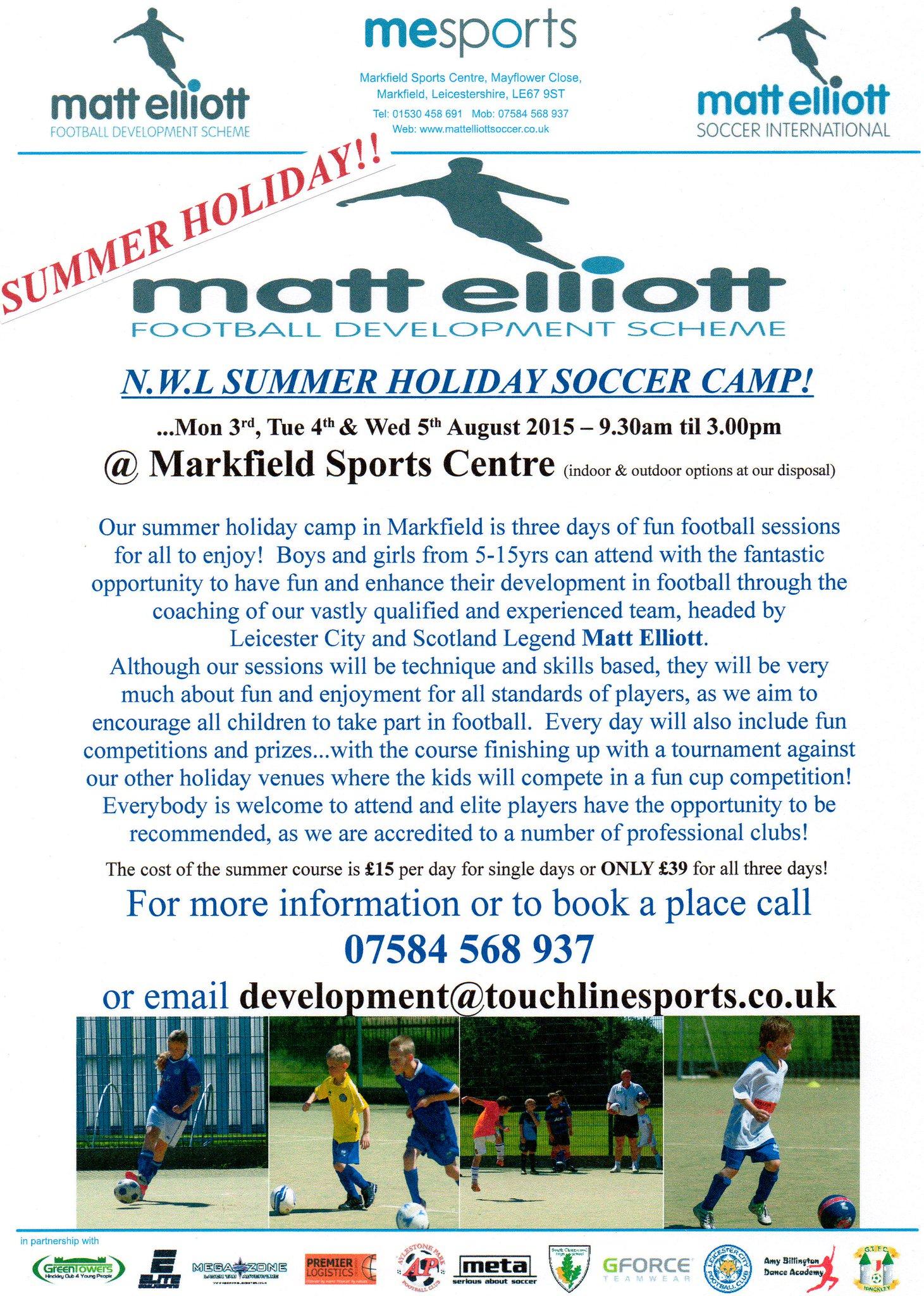 RT @MElliottSoccer: N.W LEICS SUMMER SOCCER CAMP - 3rd, 4th & 5th August @ MARKFIELD COMMUNITY & SPORTS CENTRE (5-15yrs)...See below... htt…