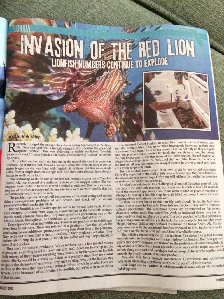 Great article about the lionfish invasion and a possible solution of a co-op of divers @Coastalanglerm http://t.co/d6eIGjg4b4
