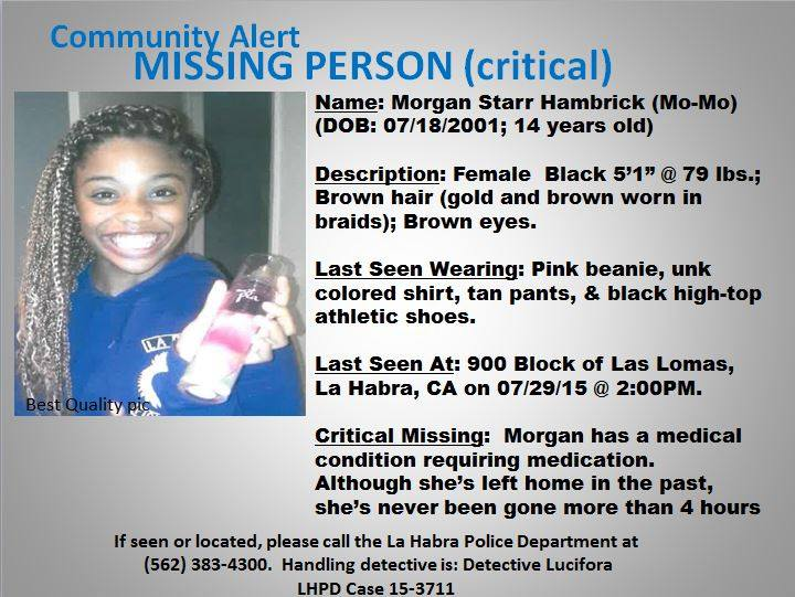 RT @TheRedWineGal: @michaelsheen @toogoodtowaste  #MISSING #MorganStarrHambrick #LaHabra The media is not covering her story. Please RT htt…