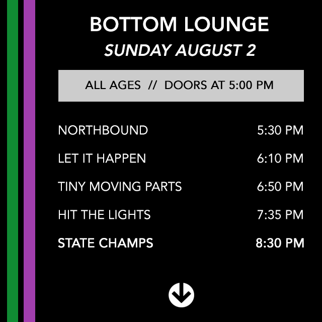 Set times for tonight's SOLD OUT @State_Champs show #ShotBoysOfSummer http://t.co/oi49ZcfuJV
