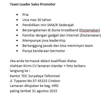 Telkomsel Authorized Partner On Twitter Lowongan Kerja Team Leader Sales Promotor Lokercirebon Lokercrb Http T Co Woufsqjmmd