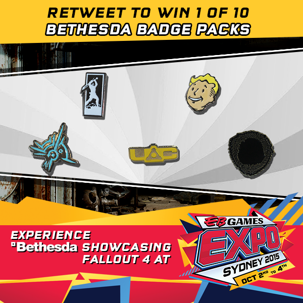 To celebrate Bethesda showcasing #Fallout4 at #EBExpo15, RT to win 1 of 10 Bethesda badges! http://t.co/wUTynIwXiY