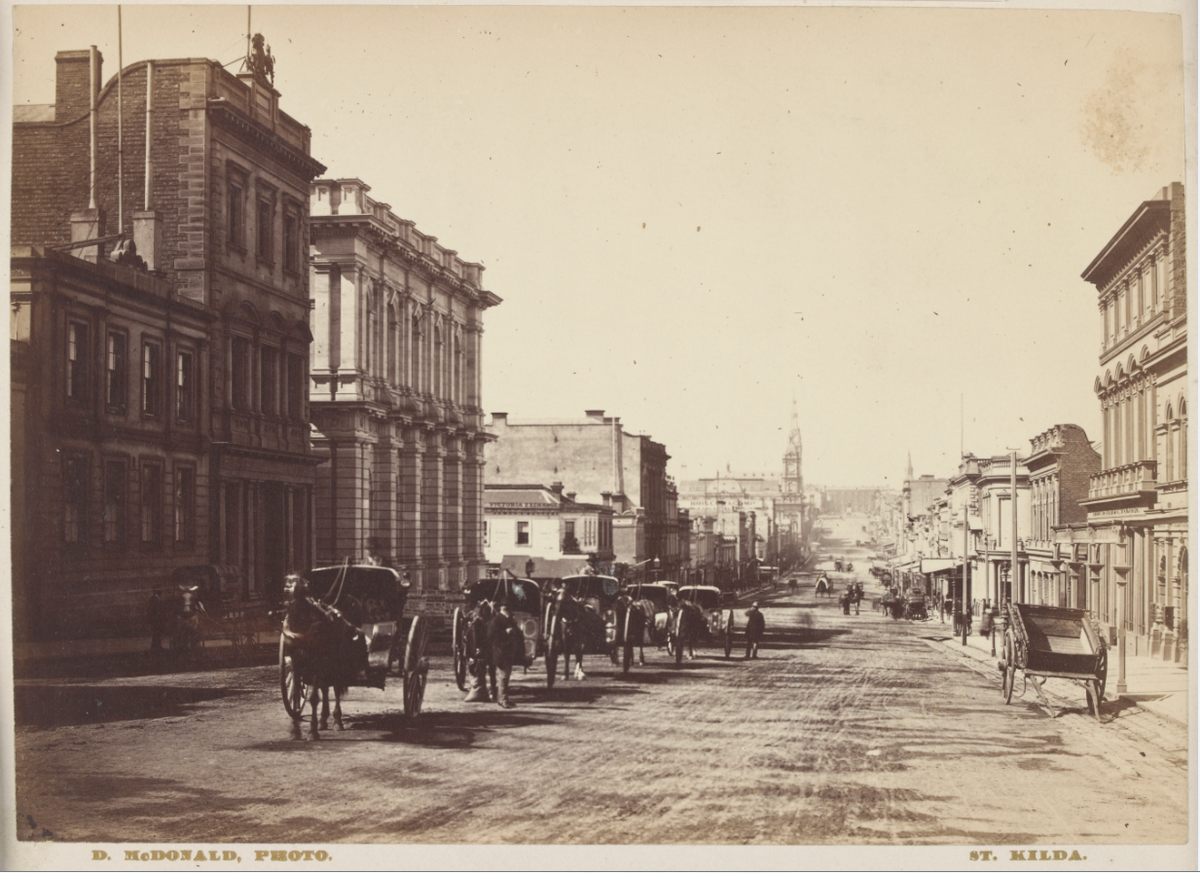 This is the view of Collins St near market St  from c1880 from @Library_Vic via @MVTeachers . We were there today! http://t.co/29p047yvQe