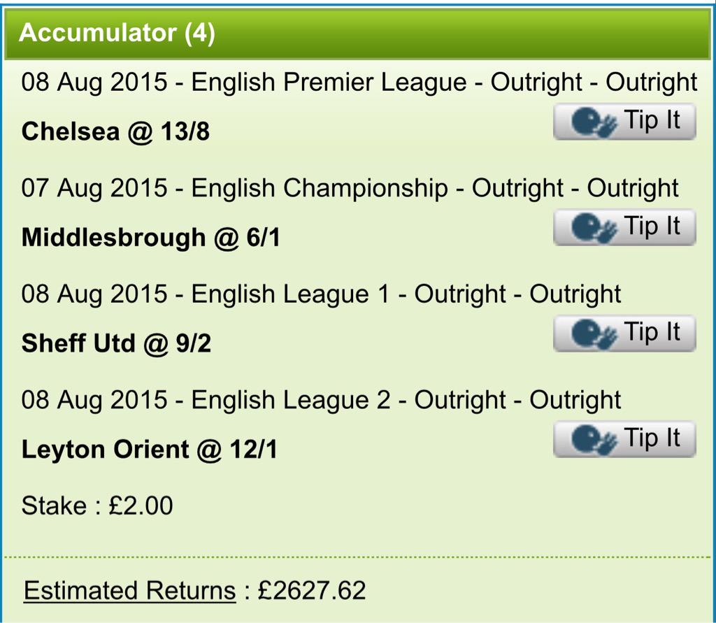 My bets have been placed. Outright champions #EPL #CFC #Championship #MFC #League1 #SUFC #League2 (outside bet) #LOFC http://t.co/M9gvOtGItw
