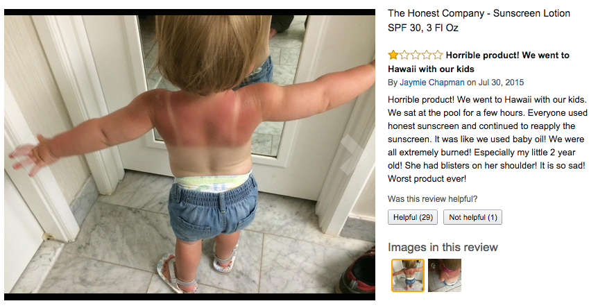 Sunburned customers are roasting the natural sunscreen from Jessica Alba's company http://t.co/96v05bEyZ7 http://t.co/DE15KqquXp
