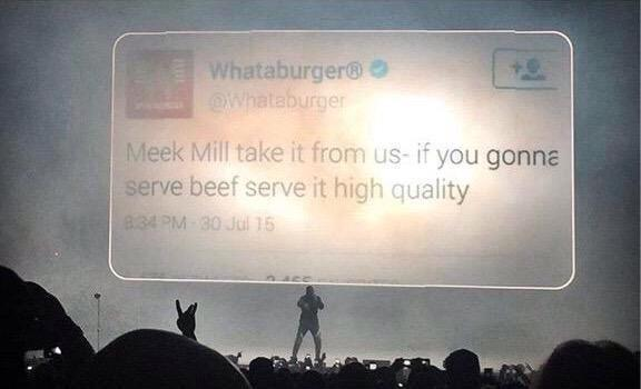 The Fact that @drake just used a @Whataburger tweet as the backdrop at #OVOFest means everything to me!