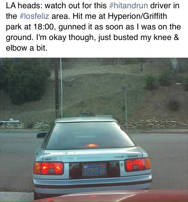 HIT & RUN alert: 1PDR536 Older model Toyota Celica; Crime occurred at Hyperion/Griffith Park ave in Los Feliz area. http://t.co/vzsf6KOV86