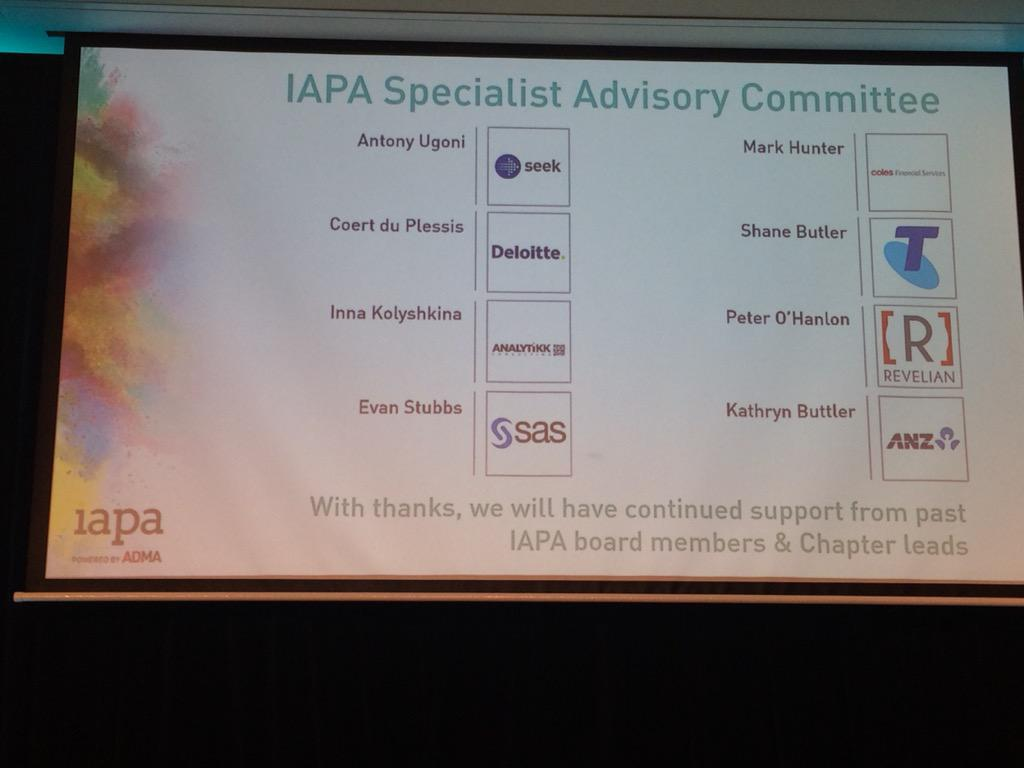 The new IAPA Specialist Advisory Committee has been announced #AdvancingAnalytics http://t.co/ADKY40Tljr
